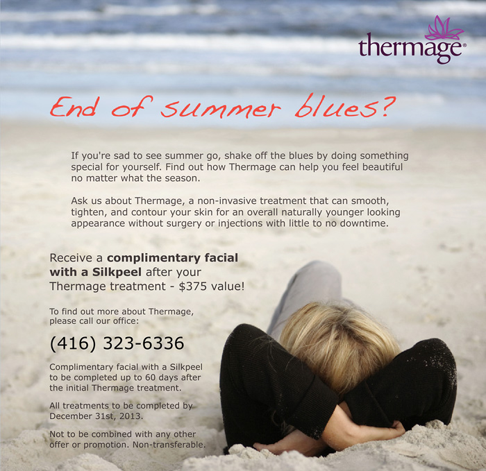Complimentary facial and a Silkpeel with any Thermage treatment