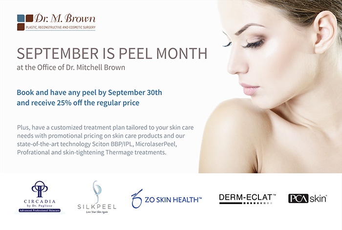 Book and have any peel by September 30th and receive 25% off the regular price