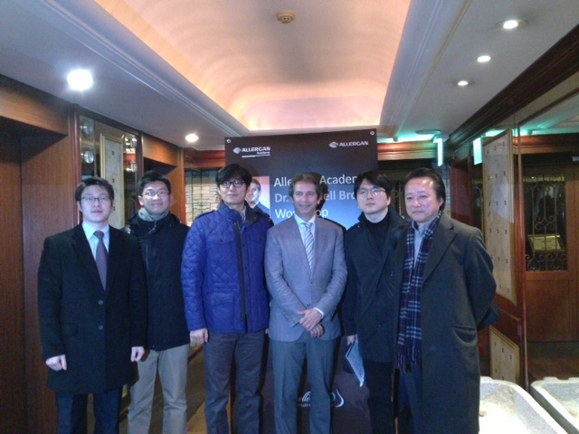 Dr. Brown with Korean plastic surgeons in Seoul after giving lecture on techniques in aesthetic breast surgery